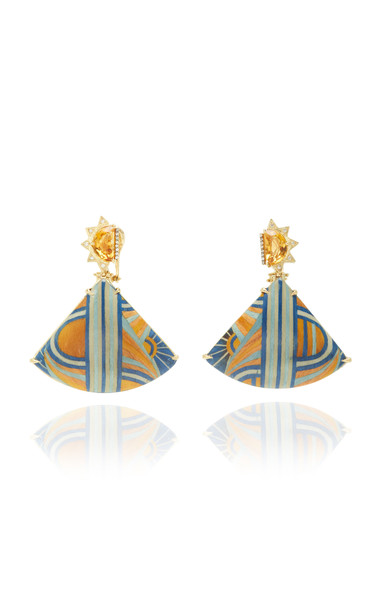 Silvia Furmanovich Marquetry Blue And Yellow Fan Earrings