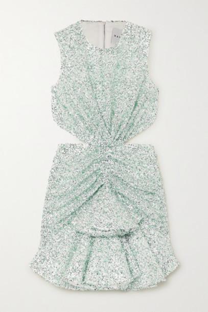 Halpern - Cutout Sequined Georgette Mini Dress - Green