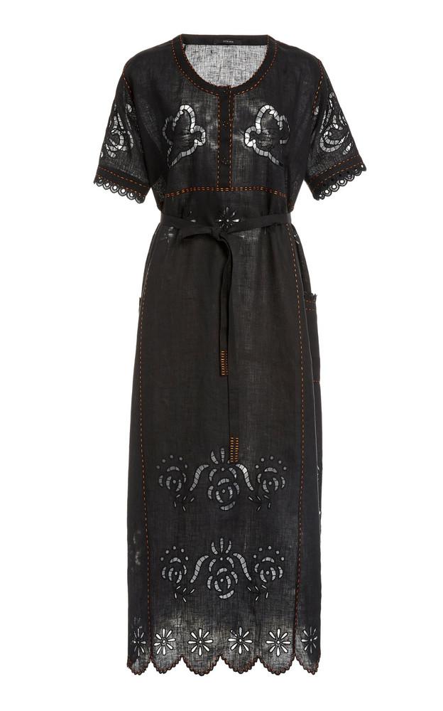Vita Kin Love In The Air Broderie Anglaise Linen Midi Dress in black