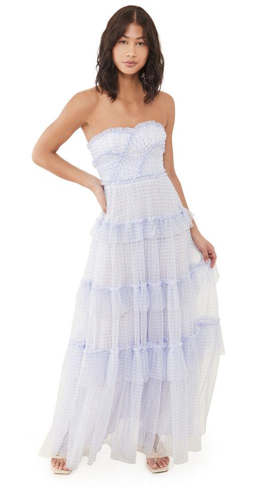 Needle & Thread Caroline Gingham Tulle Gown in blue / ivory