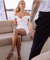 dress,wedding dress,white,white dress,mini dress,hailey baldwin,model off-duty,sandals,sandal heels
