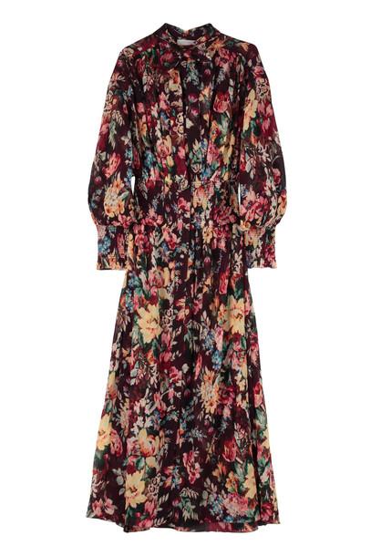 Zimmermann Allia Printed Long Shirtdress in burgundy