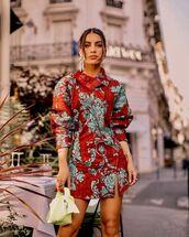 dress,red dress,long sleeve dress,floral dress,acne studios,white bag