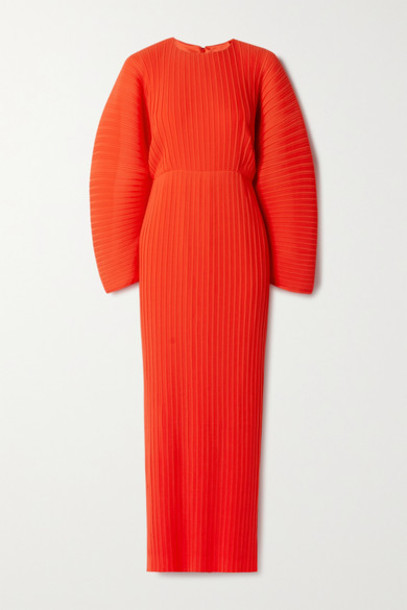 Solace London - Mirabelle Plissé-chiffon Maxi Dress - Tomato red