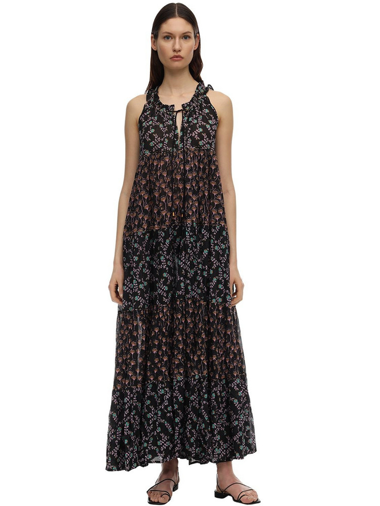 YVONNE S Hippy Cotton Voile Maxi Dress in black / multi
