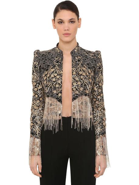 ZUHAIR MURAD Embellished Tulle Jacket W/ Fringes in black / gold