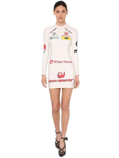 OFF WHITE Multi Logo Stretch Jersey Mini Dress in white