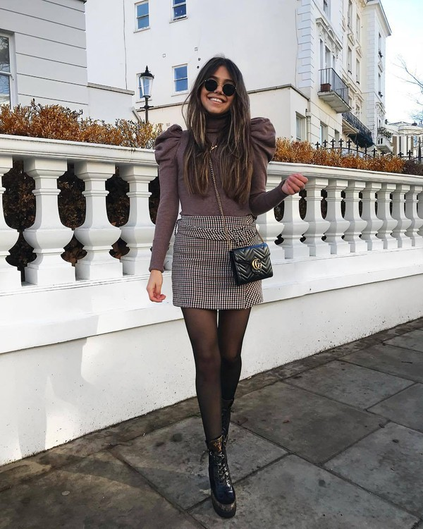 sweater turtleneck sweater puffed sleeves mini skirt houndstooth black high waisted skirt black bag gucci bag tights black boots ankle boots patent boots