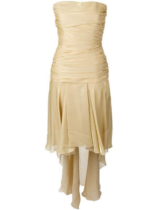 Jean Louis Scherrer Pre-Owned draped strapless train dress in metallic