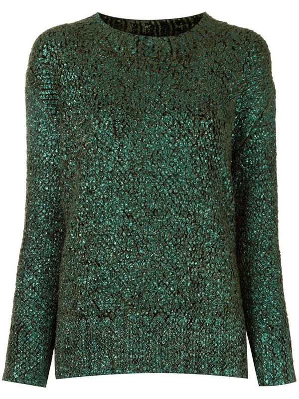 Ermanno Scervino crew neck shiny knit sweater in green