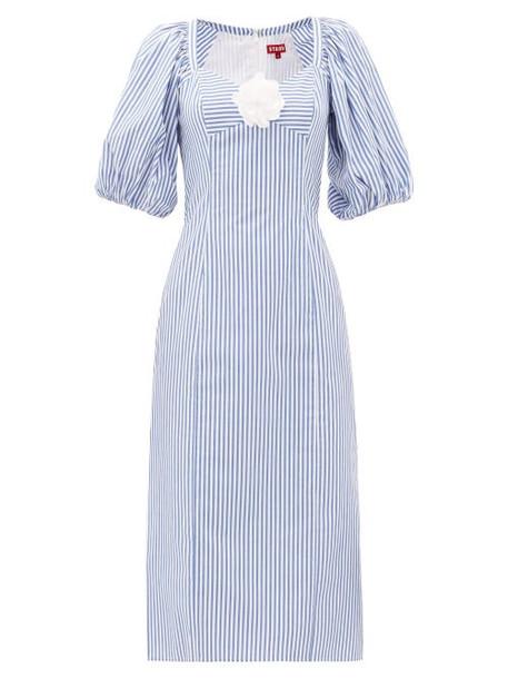Staud - Striped Cotton-poplin Midi Dress - Womens - Blue White