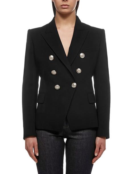 Balmain Button Embellished Blazer in nero