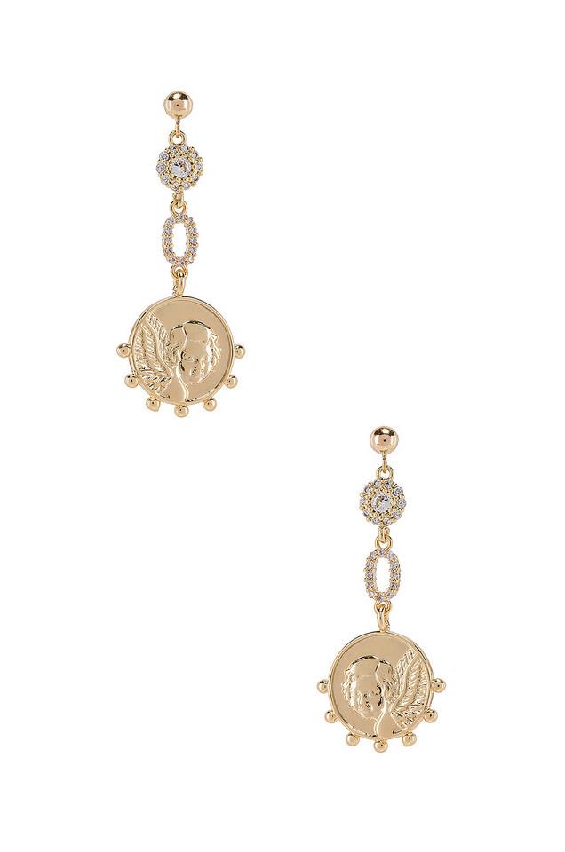 Natalie B Jewelry The Angelic Earrings in gold / metallic