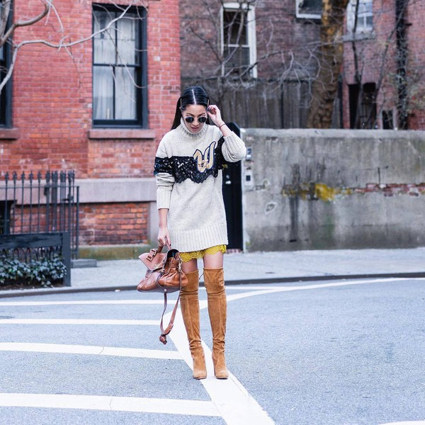 sweater turtleneck sweater oversized turtleneck sweater over the knee boots brown boots brown bag shoulder bag yellow skirt