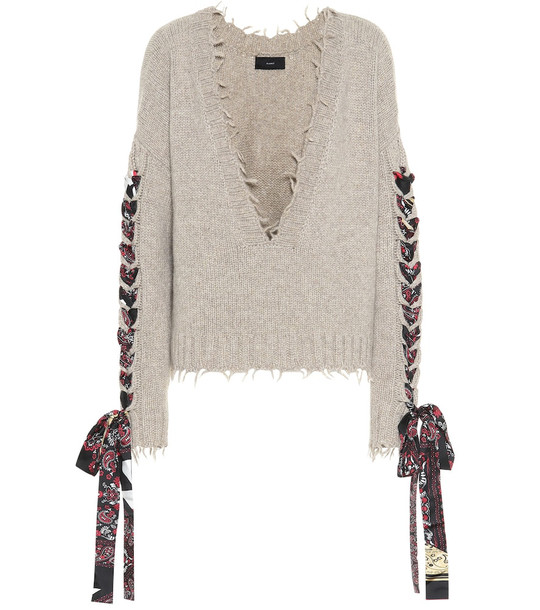 Alanui Cropped cashmere sweater in neutrals