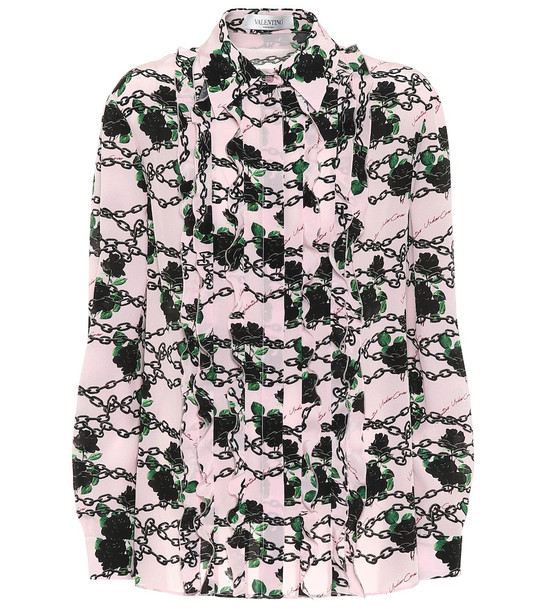 Valentino Printed silk blouse in pink