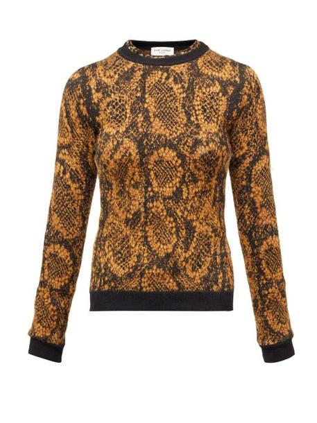 Saint Laurent - Snake Jacquard-knit Sweater - Womens - Black Gold