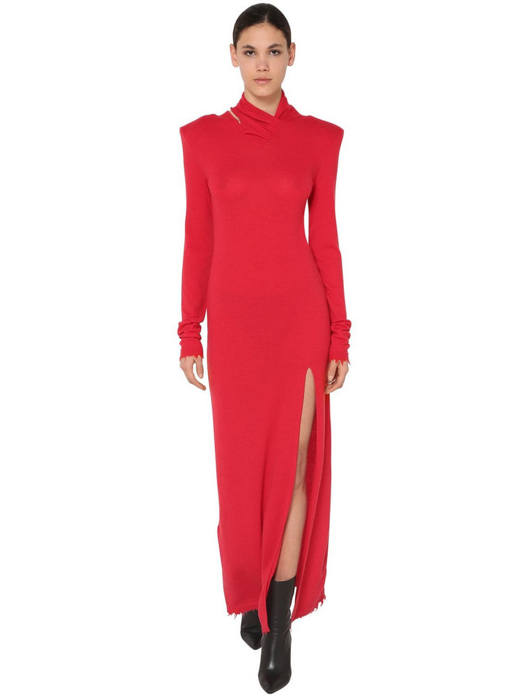 UNRAVEL Twisted Long Wool Blend Dress in red