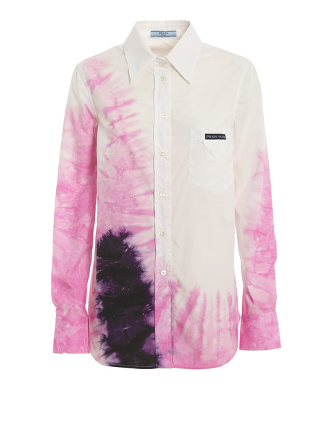 Prada Tie-dyed Poplin Shirt in bianco