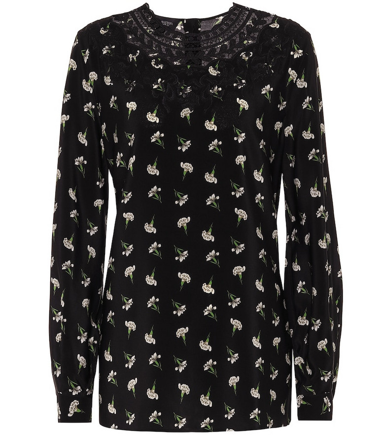 Giambattista Valli Floral silk top in black