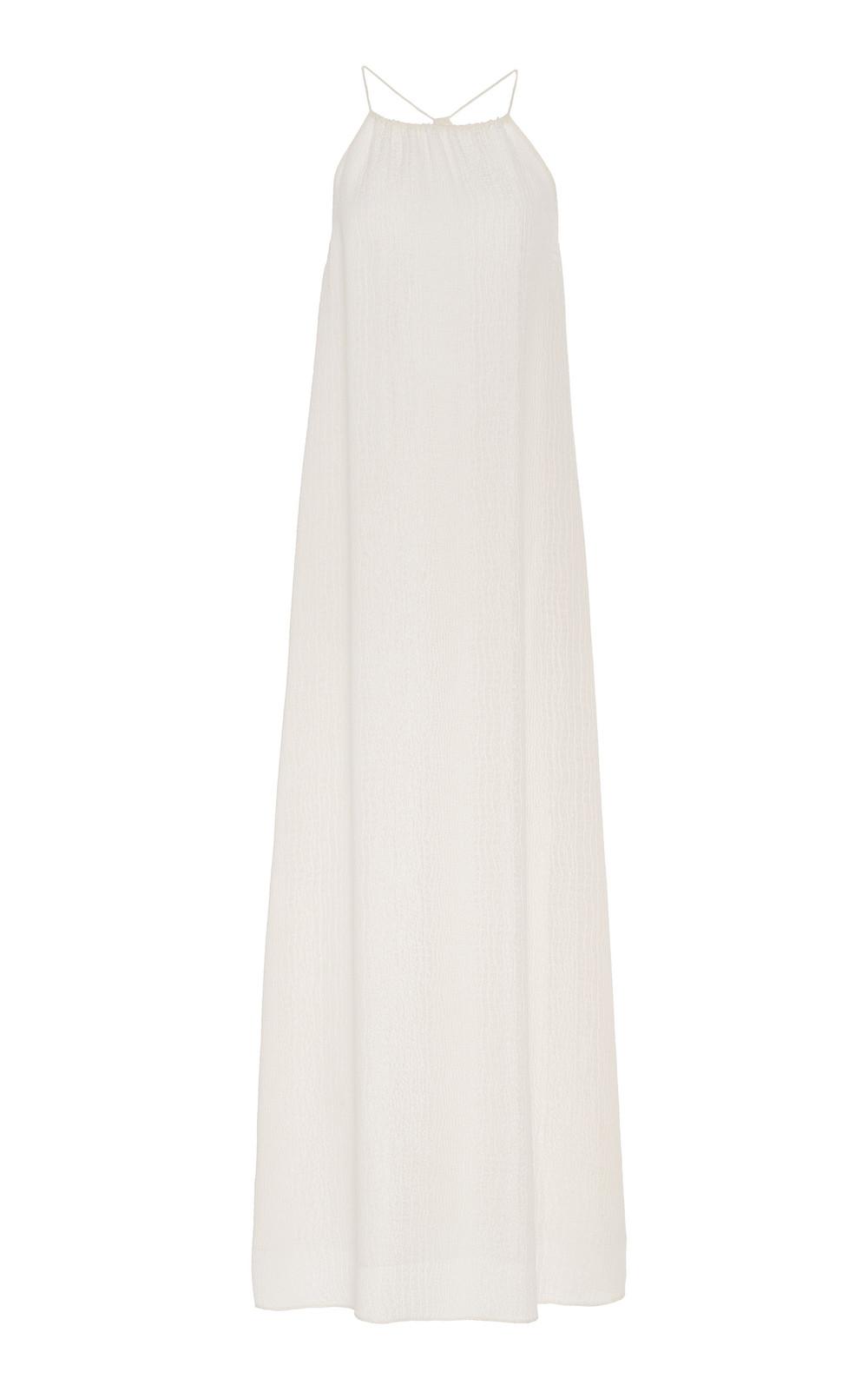 Marie France Van Damme Croco Racer Back Long Dress in white