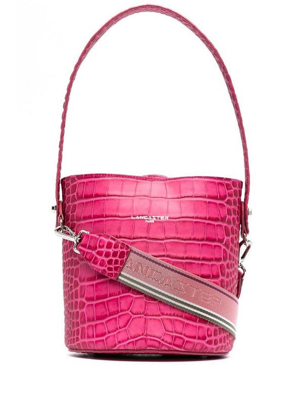 Lancaster croc-effect bucket bag in pink