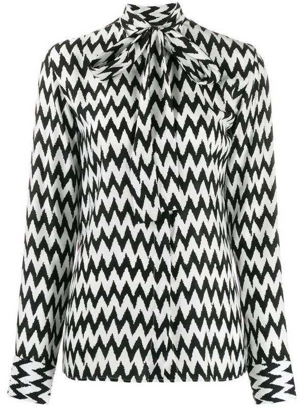 Haider Ackermann printed pussy bow blouse in black