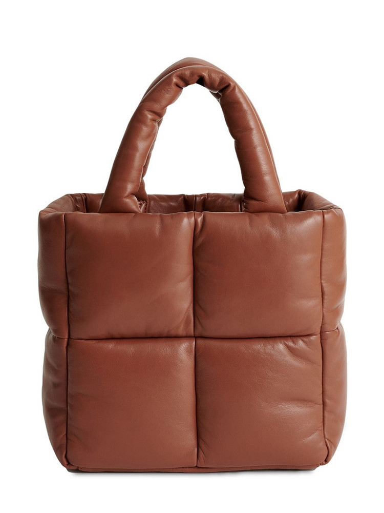 STAND STUDIO Rosanne Quilted Leather Tote Bag in tan