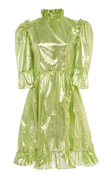 Batsheva Spring Prairie Metallic Dress in green