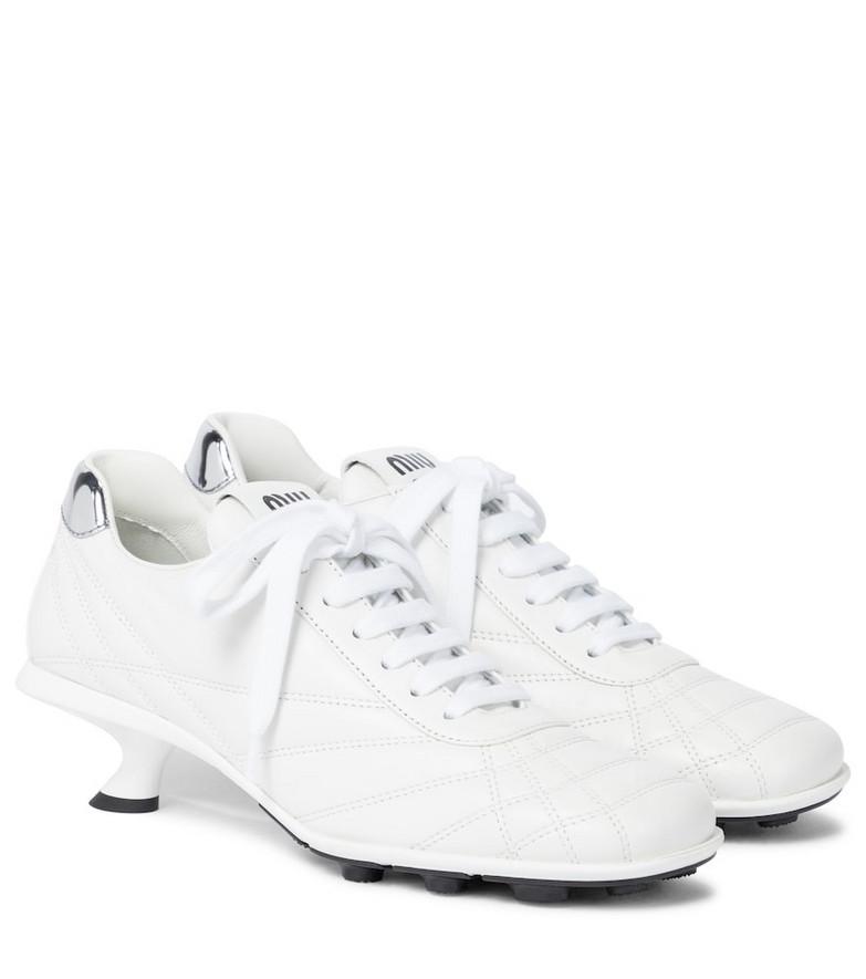 Miu Miu Leather sneaker pumps in white