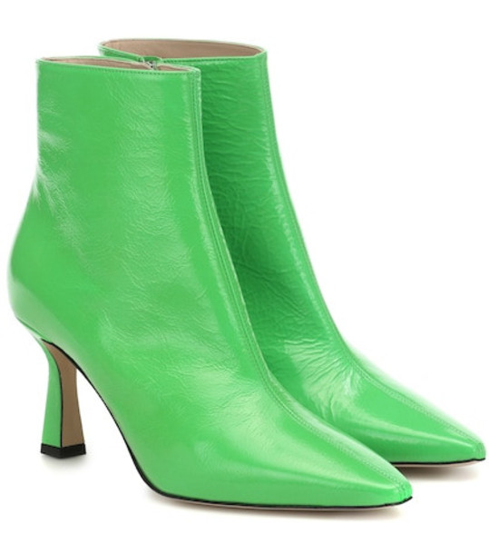 Wandler Lina patent leather ankle boots in green