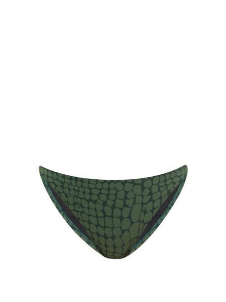 Solid & Striped - The Tati Crocodile-jacquard Bikini Briefs - Womens - Dark Green