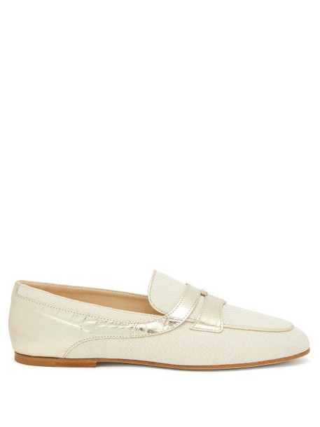 Tod's - Croc-effect Panel Canvas Loafers - Womens - Cream Gold