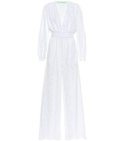Off-White Embroidered cotton jumpsuit in white