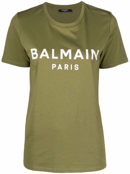 Balmain logo-print cotton T-shirt - Green