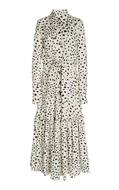 Carolina Herrera Printed And Belted Satin Maxi Shirt Dress in print