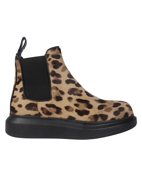 Alexander McQueen Elasticated Slip-on Ankle Boots in black / leopard