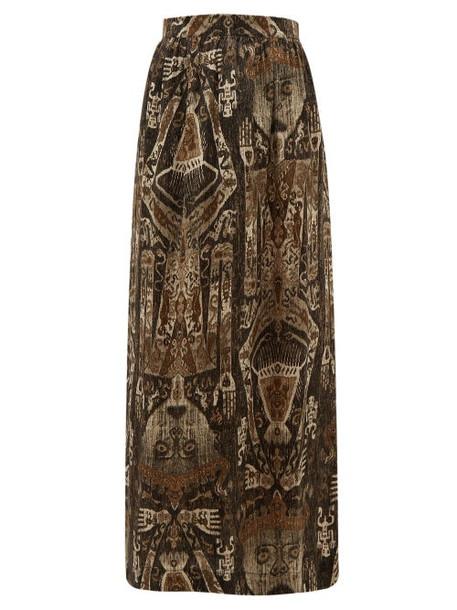 Edward Crutchley - Raja Print Silk Skirt - Womens - Brown Multi