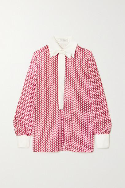 Valentino - Tie-neck Printed Silk-twill Blouse - Red