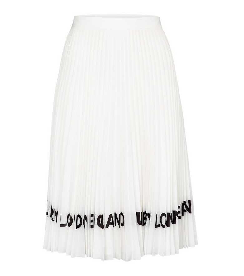Burberry Logo pleated midi skirt in white