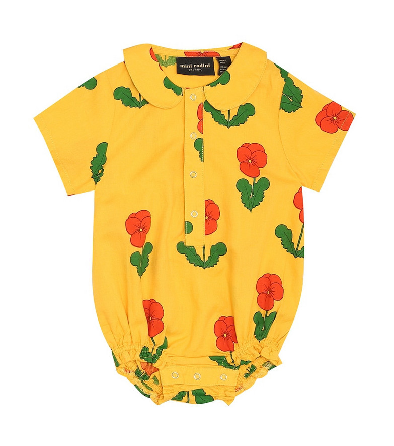 Mini Rodini Baby floral cotton playsuit in yellow