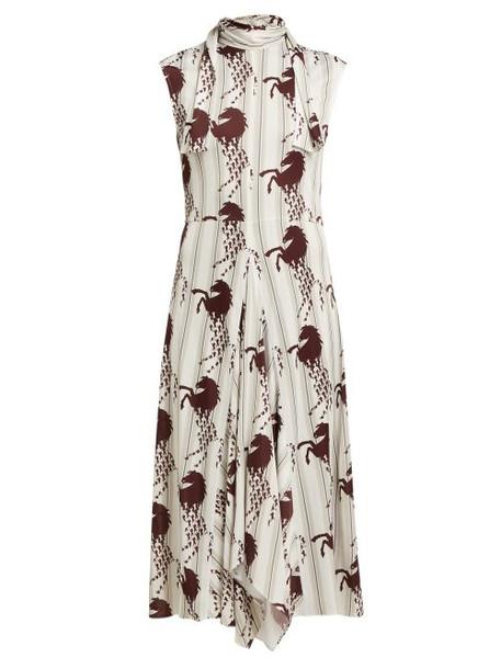Chloé Chloé - Little Horses Print Panelled Cady Midi Dress - Womens - Brown Multi
