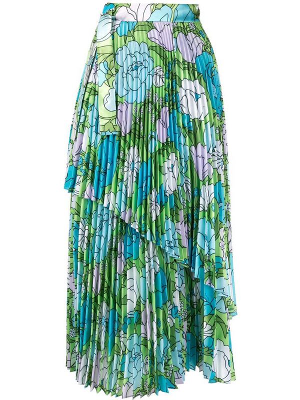 Richard Quinn floral pleated skirt in blue