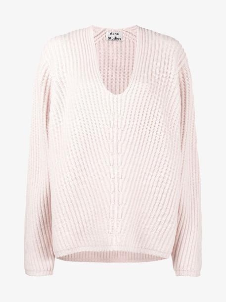 Acne Studios Deborah V-neck ribbed jumper in pink / purple