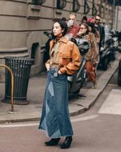 skirt,maxi skirt,denim skirt,black skirt,brown jacket,leather jacket,turtleneck,shirt
