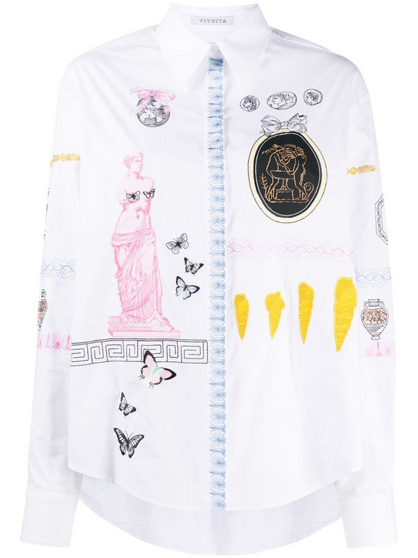 Vivetta embroidered long-sleeved shirt in white
