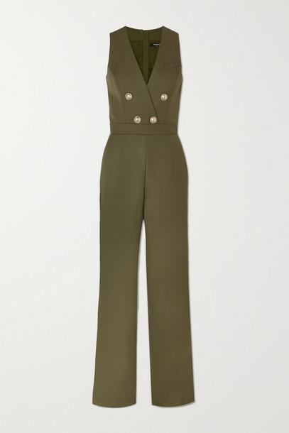 Balmain - Buttoned-embellished Wool Jumpsuit - Green