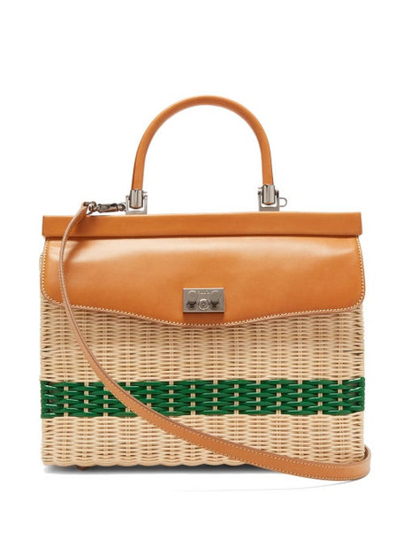 Rodo - Wicker & Leather Box Bag - Womens - Beige Multi