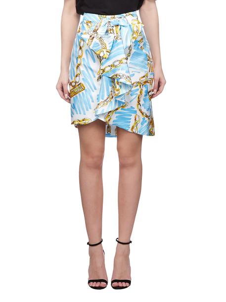 Moschino Printed Wrap Skirt in bianco
