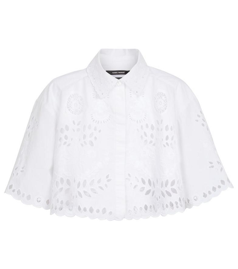 Isabel Marant Derron embroidered cotton crop top in white